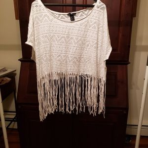 White mesh and fringed crop top